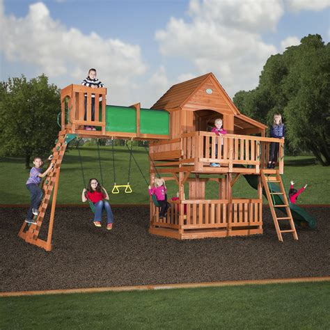 swing set woodridge ii wooden swing set wall ladders side porch
