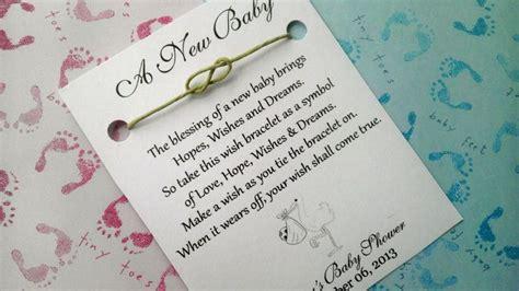 greetings for a baby shower baby shower wish bracelet shower favor favors
