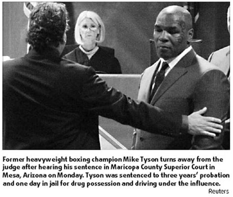 Mike Tyson Pleads Not Guilty by Boxer Mike Tyson To Serve One Day In For Dui