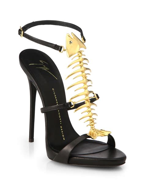 giuseppe zanotti fish sandals giuseppe zanotti skeletal fish leather sandals in black lyst