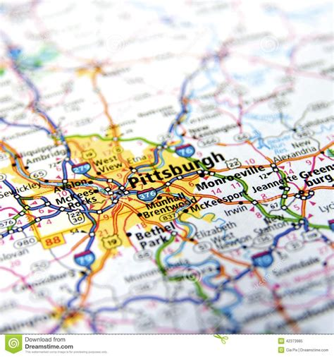 up road map pennsylvania highway map up stock photo image
