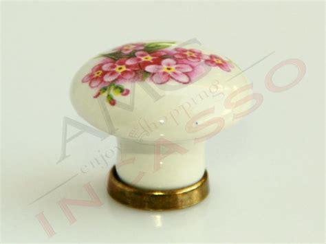 pomelli ceramica cucina pomolo pomello 669 15 fiore pesco porcellana ceramica