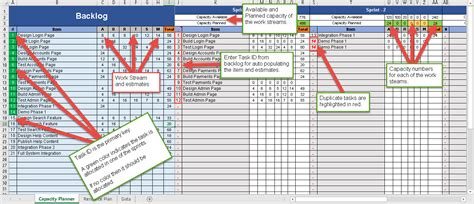 capacity management template sprint capacity planning excel template free