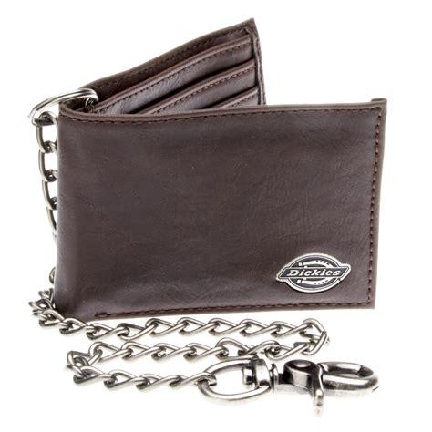 dickies black leather slim bifold wallet w metal chain ebay
