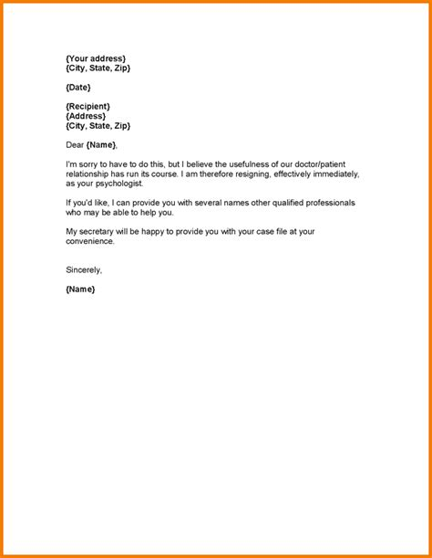 Patient Exit Letter 4 Resignation Format With One Month Notice Expense Report