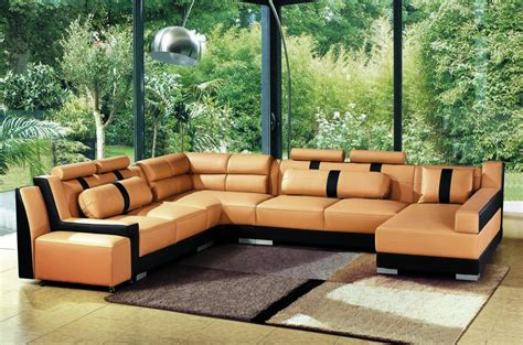 Terracotta Leather Sofa 2512 Modern Terracotta And Black Bonded Leather Sectional Sofa