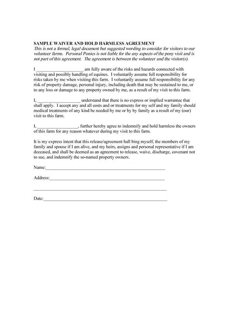 personal relationship contract template 40 hold harmless agreement templates free template lab
