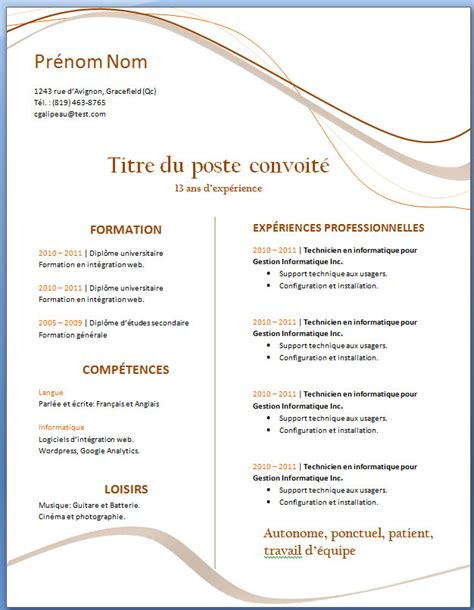 Cv Gratuit Word by Word Exemple De Cv Info
