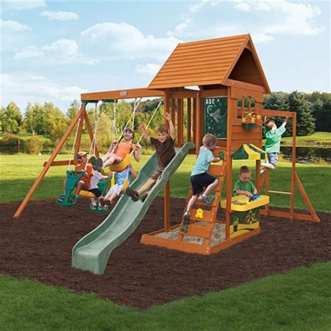 cedar wood swing sets cedar summit sandy cove wooden swing set walmart com