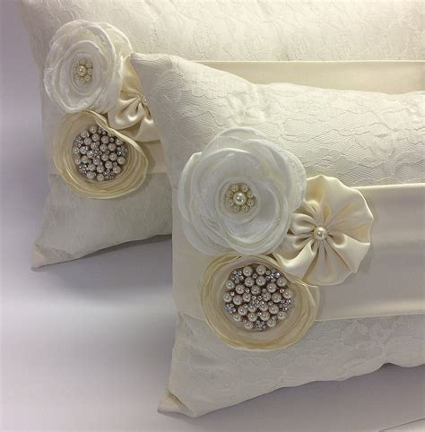 Wedding Pillows by Set Of 2 Kneeling Pillows Lace Wedding Ring Pillow Wedding