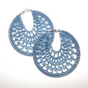 crochet sky blue hoop earrings with beads folksy