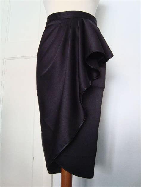 Ca Stelan Kulot Batik Premium Size Xl inky black satin waterfall pencil skirt asymmetrical skirt sizes xs xl or