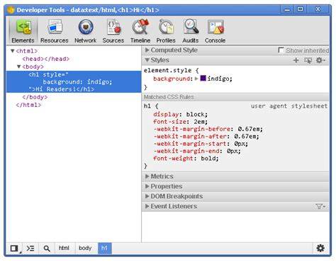 Chrome Developer Tools | chrome dev tools markup and style