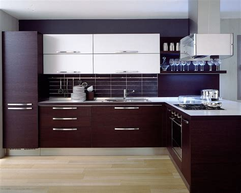 Modern Kitchen Furniture by Dark Brown Laminate Kitchen Cabinets With Light Hardwood