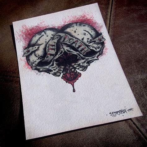 skull heart tattoo til skull style by