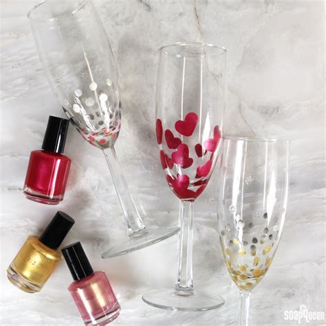 Valentine Home Decorating Ideas by Diy Nail Polish Painted Champagne Flutes Soap Queen