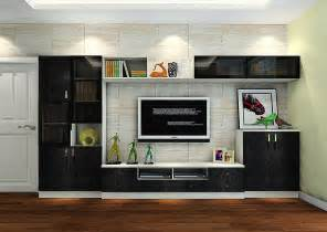 italy living room black tv cabinet with brick wallpaper