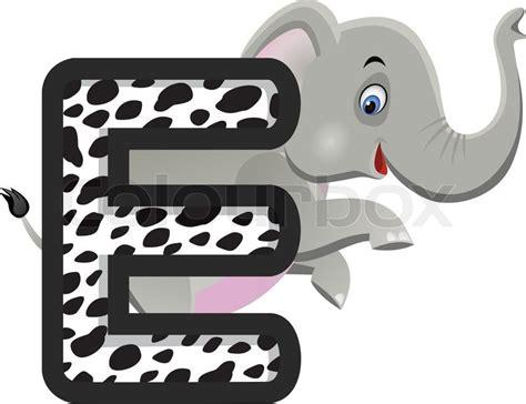 animal alphabet e with elephant cartoon stock vector