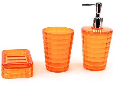 Orange 3 Piece Accessory Set In Thermoplastic Resins Bathroom Accessories Orange