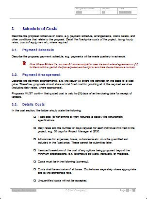 rfp cost template request for rfp template writing tips