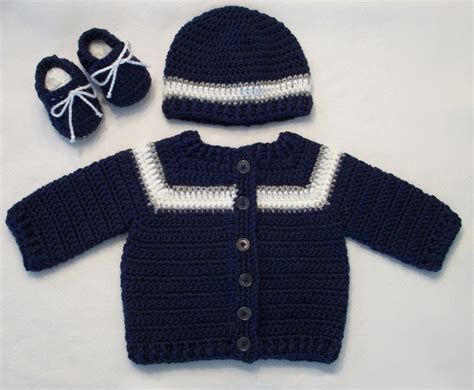 Cardigan Pattern For Baby Boy | crocheted sporty baby boy sweater hat booties set in navy w