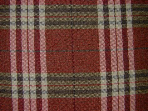 Tartan Plaid Check Chenille Red Curtain Fabric By The
