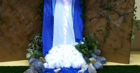 waterfall christmas lights at walmart waterfall for vbs made with wood backdrop blue colored sheets lights cotton rocks