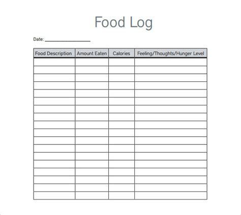keeping a food diary template sle log template documents in pdf word excel