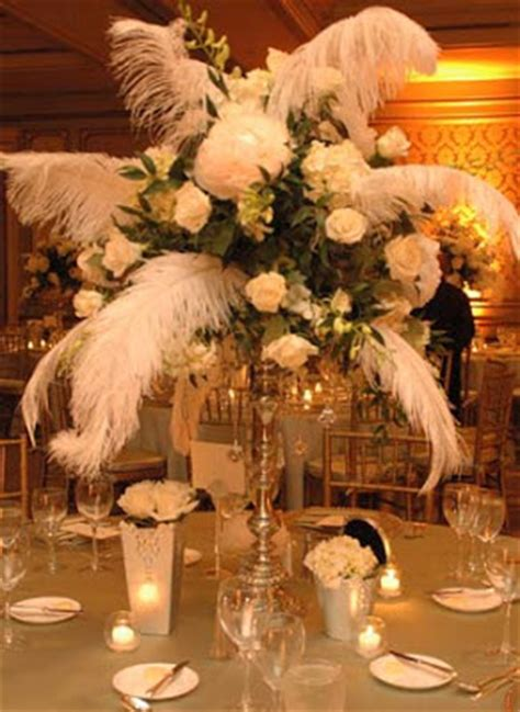 centerpieces with feathers and flowers i do inspiration floral friday vintage deco theme