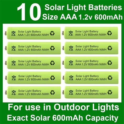 10 X Aaa 1 2v 600mah Nimh Rechargeable Batteries For Aaa Solar Light Batteries