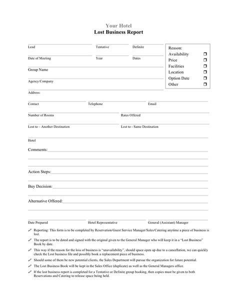 Hotel Lost Business Report Template In Word And Pdf Formats Hotel Pace Report Template