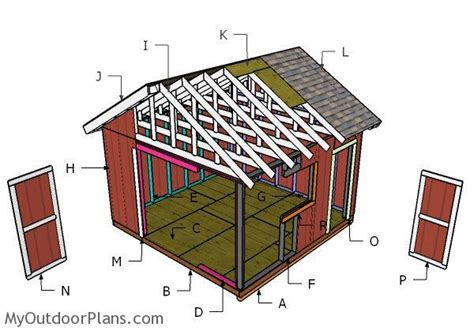 14x14 gable shed roof plans myoutdoorplans free