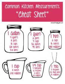 common kitchen measurements quot sheet quot printable