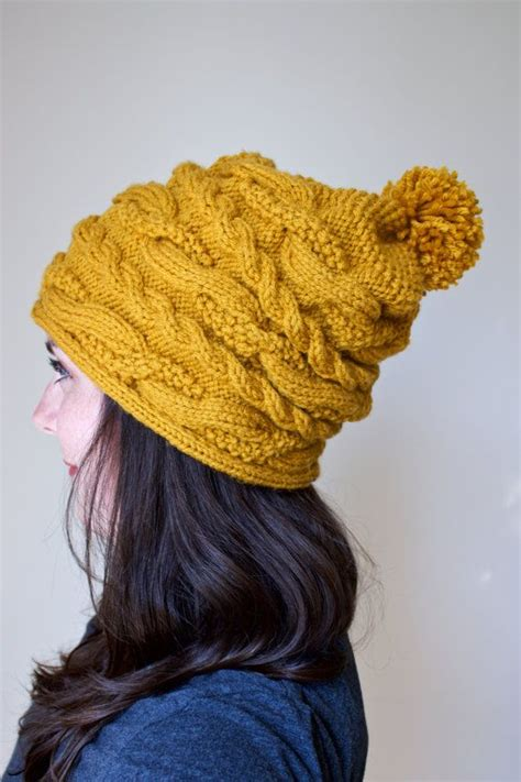 how to knit a cable beanie slouchy hat chunky cable knit beanie textured pom hat