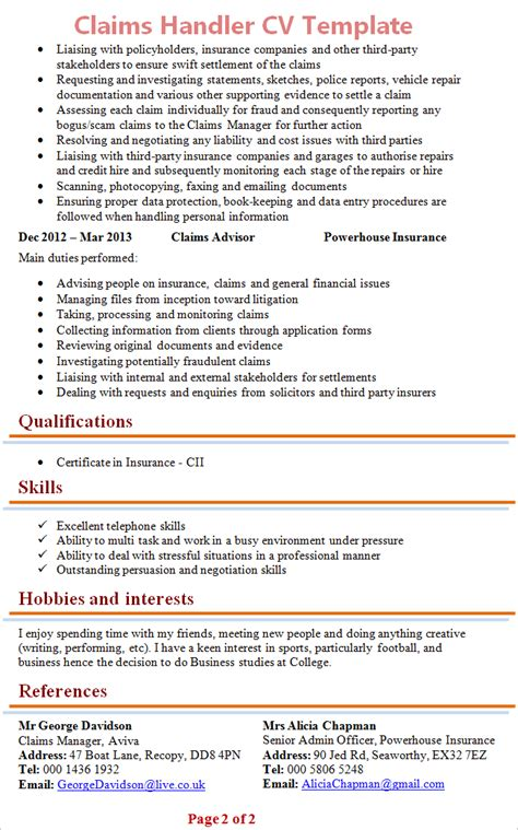 Claims Manager Resume by Sle Resume Insurance Claims Manager