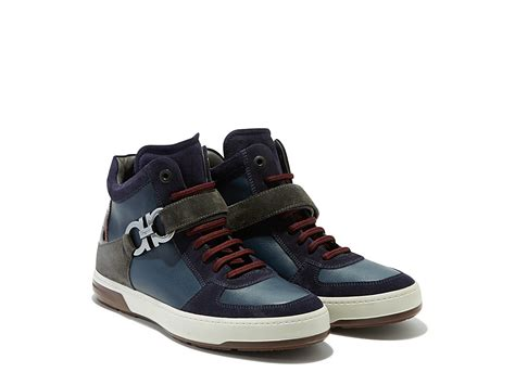 ferragamo sneaker ferragamo high top sneaker in blue for navy lyst