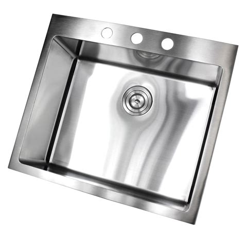 25 Inch Kitchen Sink 25 Inch Top Mount Drop In Stainless Steel Single Bowl Kitchen Island Bar Sink 15 Mm Radius