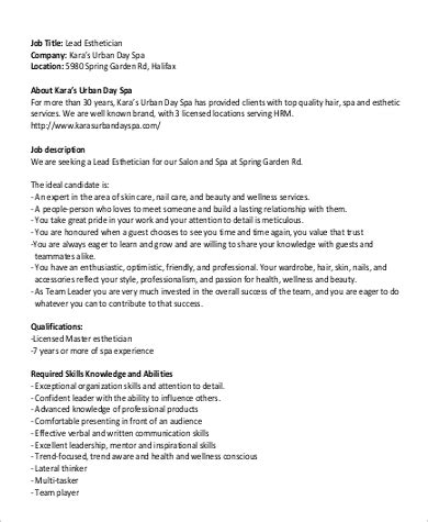 sle esthetician description 8 exles in word pdf