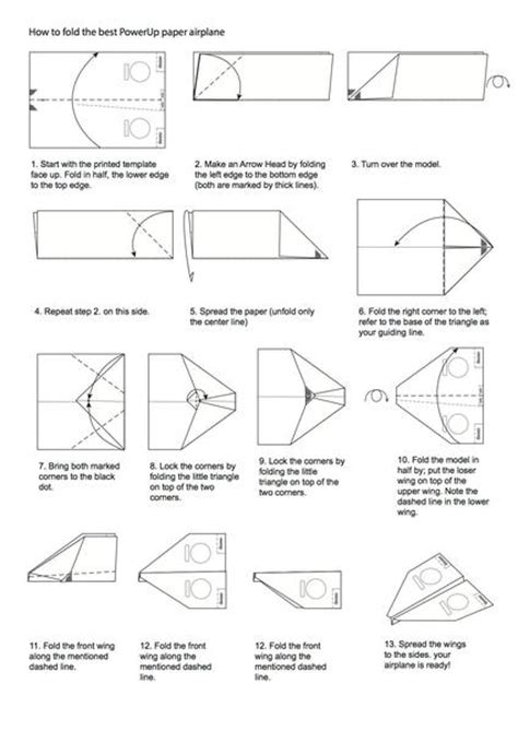 Paper Plane Folding Template - how to fold an electric paper airplane powerup toys