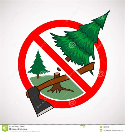 stop cutting live trees for sign stock photos image 35203293