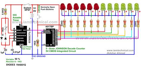 variable resistor for led lights led s running lights using 4017 and 555 astable timer with variable resistance 0 1kω