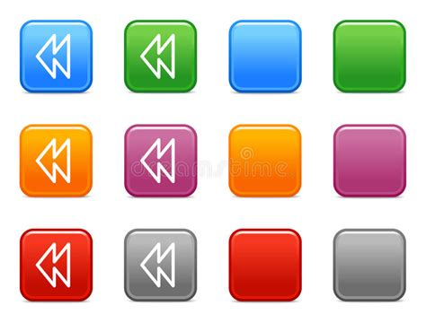 color rewind color buttons with rewind icon stock vector image 6518851