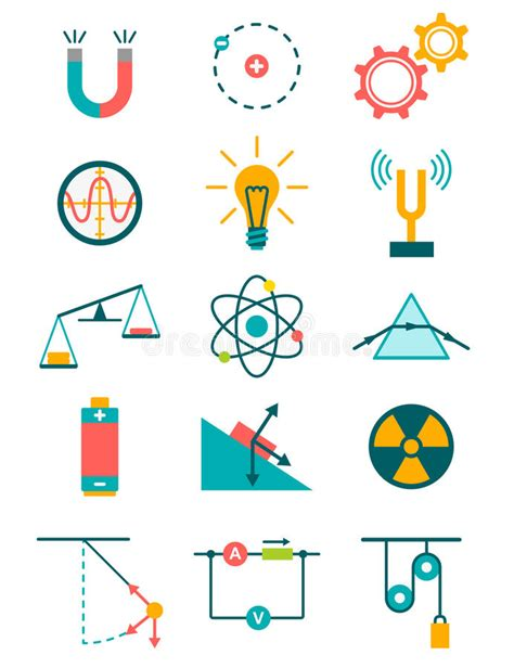physics clipart physics icons set stock vector illustration of radiation