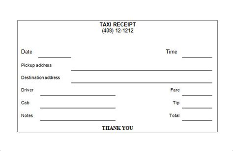 Receipt Template Taxi by Taxi Receipt Template 12 Free Word Excel Pdf Format
