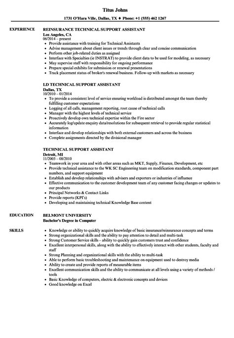 technical support assistant resume sles velvet