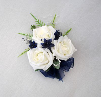 navy blue corsage navy chagne bridal bouquet wedding flowers corsage in ivory roses with navy blue