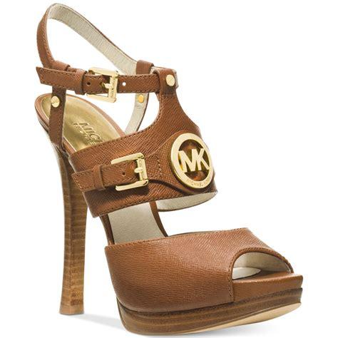 michael kors michael mackenzie platform sandals in brown