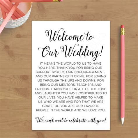 Printable Wedding Welcome Letter Instant By Alltherageprintables Welcome Bag Letter Template