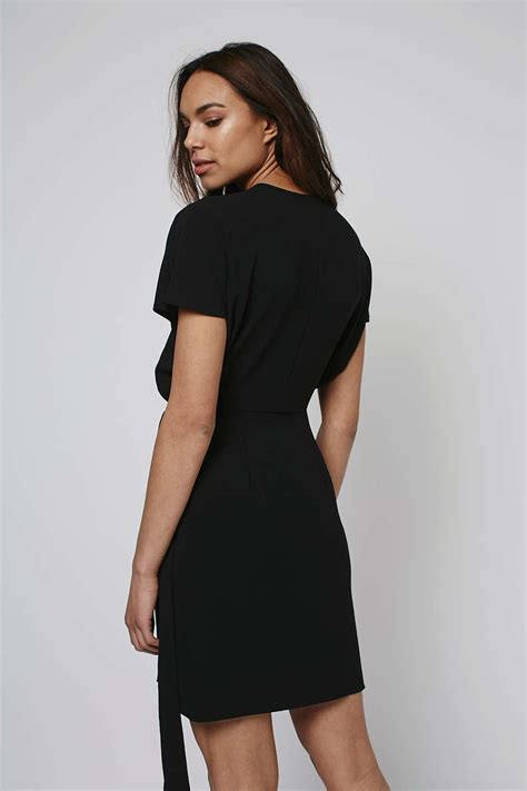 Topshop Black Mini Dress topshop mini wrap dress in black lyst