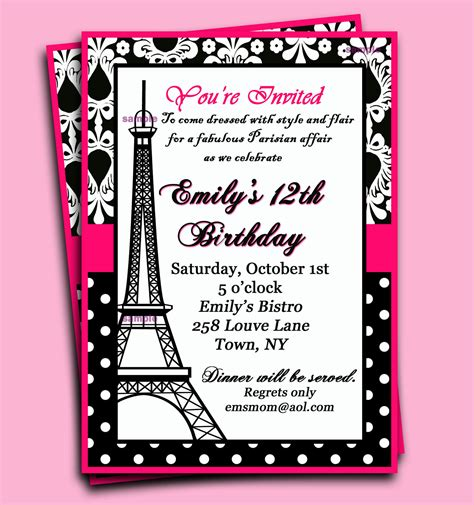 paris themed birthday invitations paris invitation printable or printed with free by